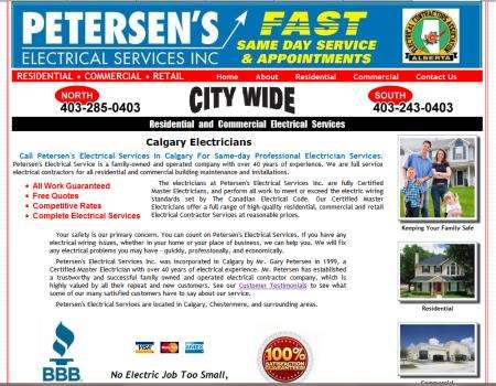 Petersen's Electrician Calgary Website
